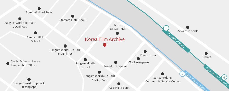 Rough map for the Korea Film Archive building in Sangam